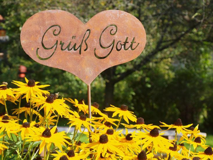 Rost Deko am Hauseingang Grüß Gott Gartenstecker aus Metall